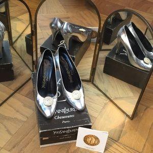 Vintage YSL Silver Kid heels